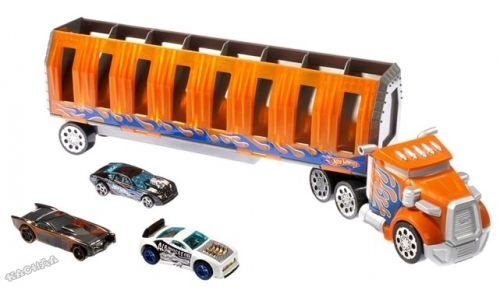 Hot Wheels - Камион транспортьор Power Drop Transporter + 3 бр. колички