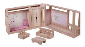 Комплект дървена кошара за кукли + възглавница и матрак