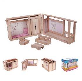 Комплект дървена къща за кукли + обзавеждане