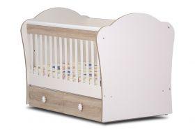 Детско легло-люлка *Тони* 70/140 см Dizain Baby Бяло/Бук