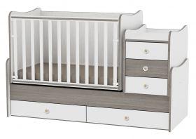Детско дървено легло-люлка MAXI Plus Bertoni Lorelli Бяло/Капучино