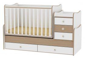 Детско дървено легло-люлка MAXI Plus Bertoni Lorelli Бяло/Орех