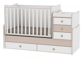 Детско дървено легло-люлка MAXI Plus Bertoni Lorelli Бяло/Кафе