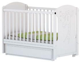 Arbor - Детско дървено легло-люлка Петит *Слон и Коте* бяло/венге - 60х120