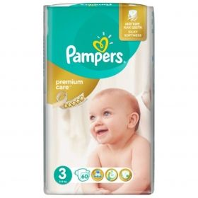 Pampers - Бебешки пелени Pampers Premium Care 3 *Mini 5-9кг.* 60бр.