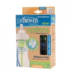 Dr.Brown`s Стъклена бутилка Natural Flow® Wide-Neck.150 ml