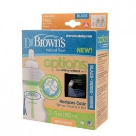 Dr.Brown`s Стъклени бутилки Natural Flow® Wide-Neck 270 ml 2 бр.