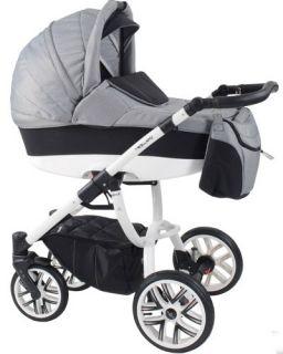 Комбинирана бебешка количка Bebetto 2в1 HOLLAND 195 - бяла рамка